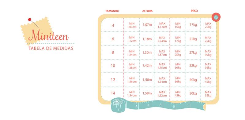 tabela de medidas miniteen - masculino