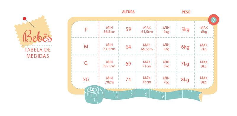 tabela de medidas bebe - feminino
