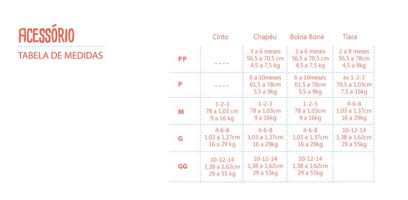 tabela acessorios - masculino e feminino